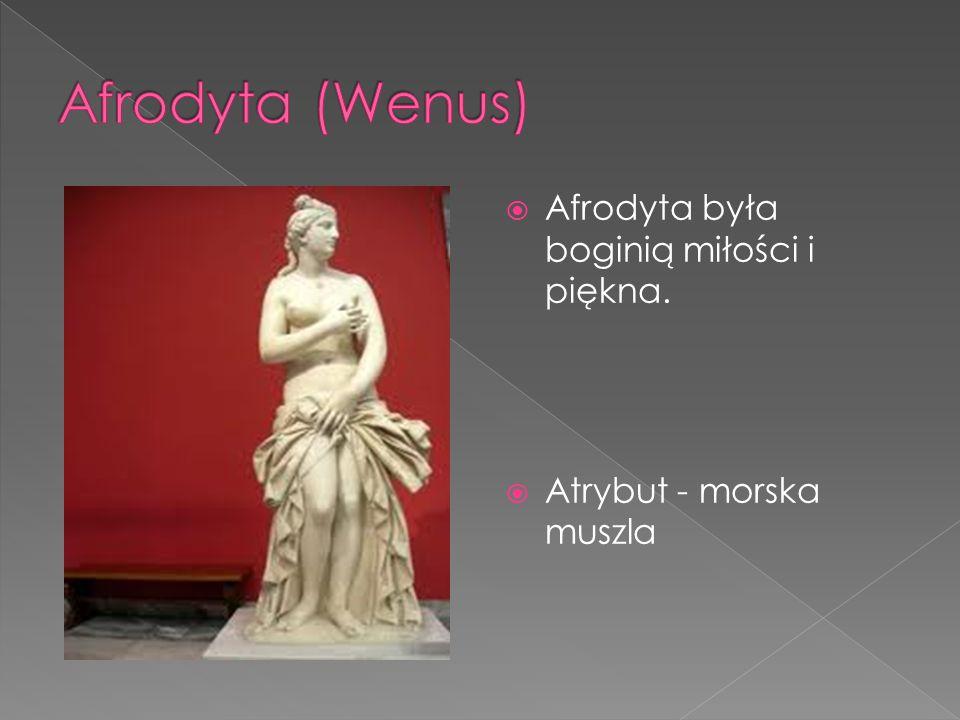  Afrodyta była boginią miłości i piękna.  Atrybut - morska muszla