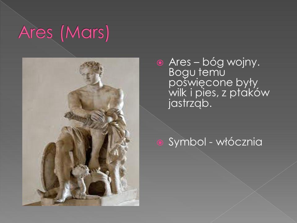  Ares – bóg wojny. Bogu temu poświęcone były wilk i pies, z ptaków jastrząb.  Symbol - włócznia