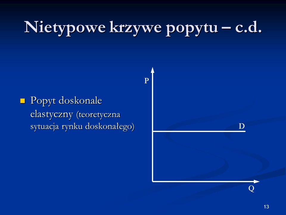 13 Nietypowe krzywe popytu – c.d. Popyt doskonale elastyczny (teoretyczna sytuacja rynku doskonałego) Popyt doskonale elastyczny (teoretyczna sytuacja