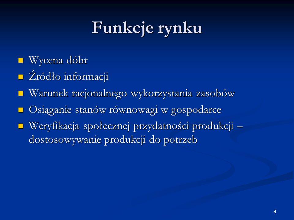 4 Funkcje rynku Wycena dóbr Wycena dóbr Źródło informacji Źródło informacji Warunek racjonalnego wykorzystania zasobów Warunek racjonalnego wykorzysta