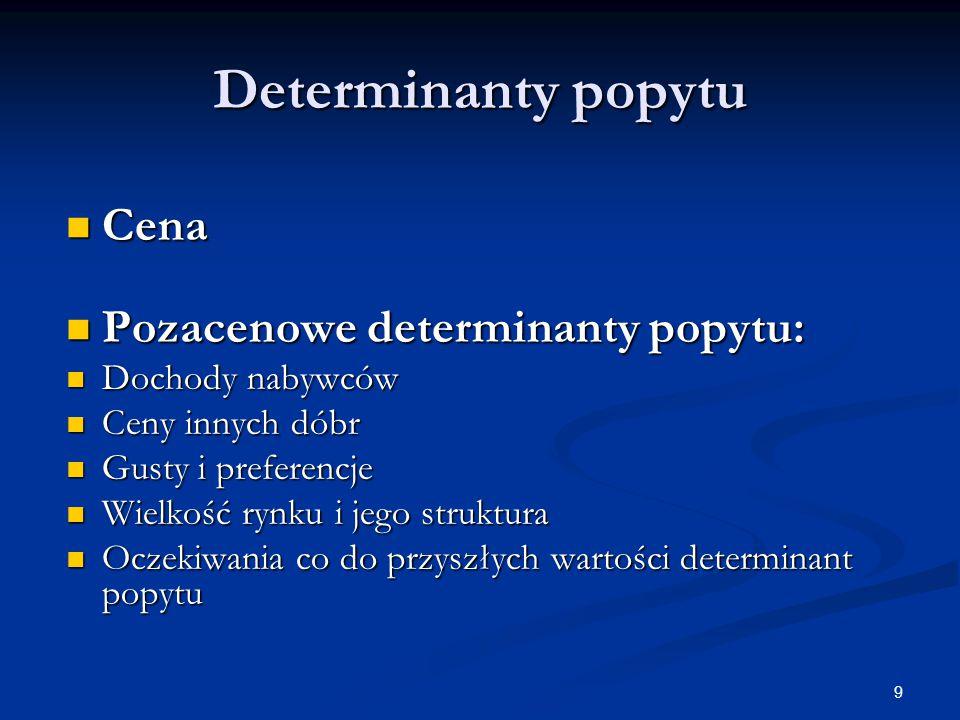 9 Determinanty popytu Cena Cena Pozacenowe determinanty popytu: Pozacenowe determinanty popytu: Dochody nabywców Dochody nabywców Ceny innych dóbr Cen