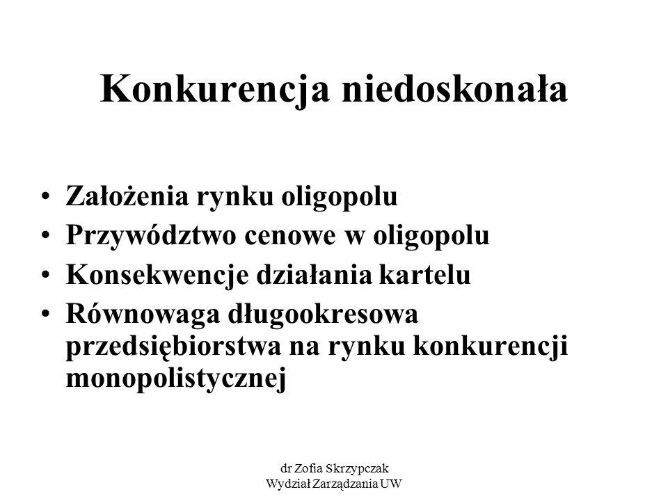 dr Zofia Skrzypczak Wydział Zarządzania UW Konkurencja niedoskonała Założenia rynku oligopolu Przywództwo cenowe w oligopolu Konsekwencje działania ka