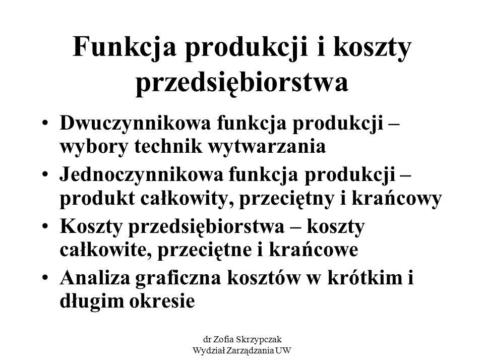dr Zofia Skrzypczak Wydział Zarządzania UW Funkcja produkcji i koszty przedsiębiorstwa Dwuczynnikowa funkcja produkcji – wybory technik wytwarzania Je