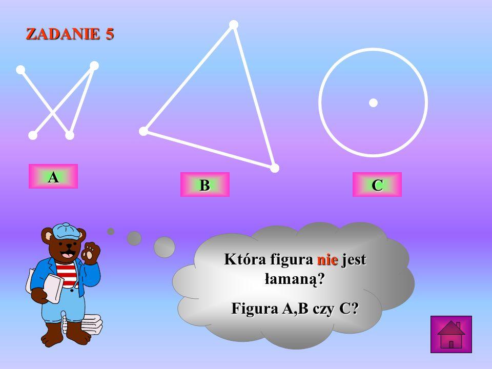 ZADANIE 5 Która figura nie jest łamaną? Figura A,B czy C? AAAA BBBB CCCC