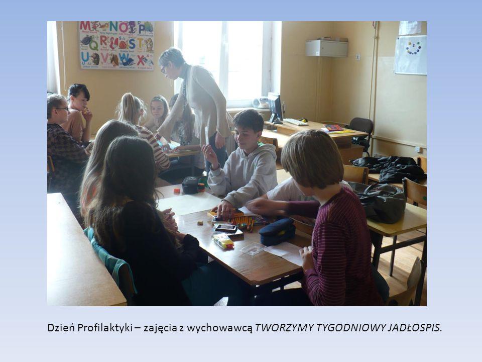 Dzień Profilaktyki – zajęcia z wychowawcą TWORZYMY TYGODNIOWY JADŁOSPIS.