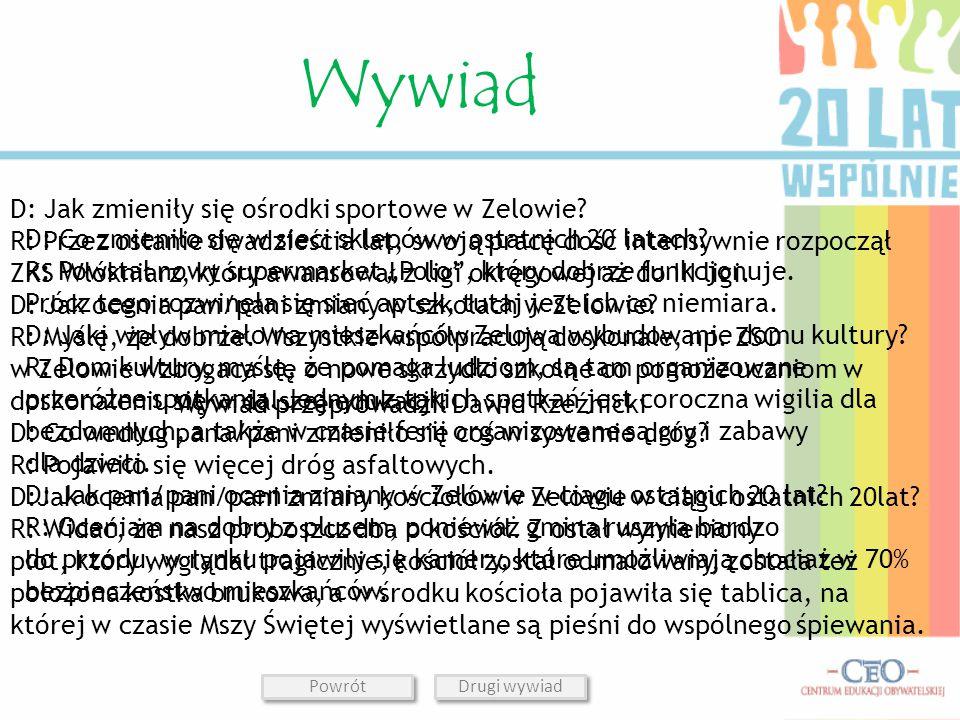 Wywiad przeprowadził Dawid Rzeźnicki D: Jak zmieniły się ośrodki sportowe w Zelowie.