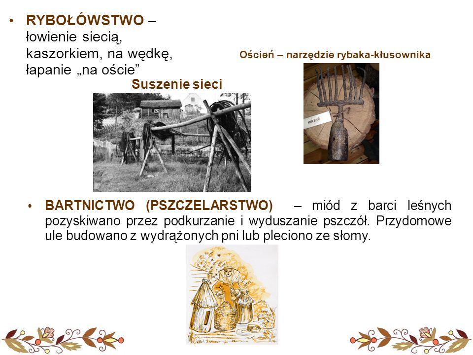 BARTNICTWO (PSZCZELARSTWO) – miód z barci leśnych pozyskiwano przez podkurzanie i wyduszanie pszczół.