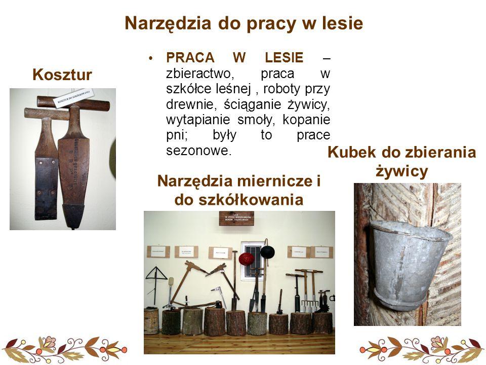 PRACA W LESIE – zbieractwo, praca w szkółce leśnej, roboty przy drewnie, ściąganie żywicy, wytapianie smoły, kopanie pni; były to prace sezonowe.