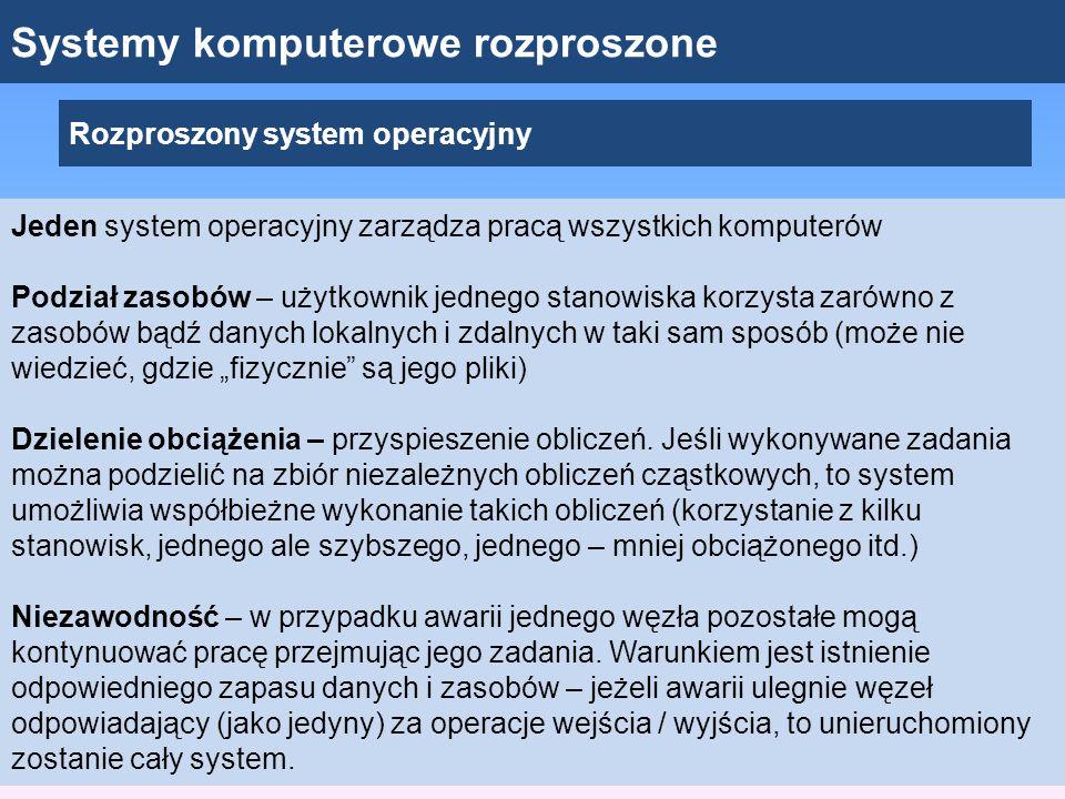 Systemy komputerowe rozproszone Rozproszony system operacyjny Jeden system operacyjny zarządza pracą wszystkich komputerów Podział zasobów – użytkowni