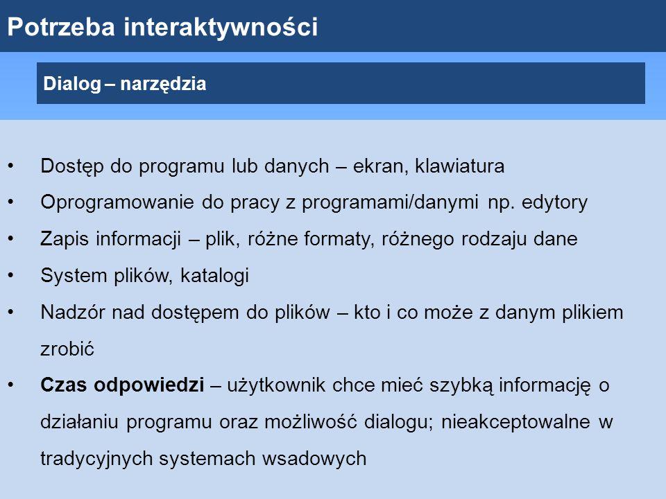Potrzeba interaktywności Dialog – narzędzia Dostęp do programu lub danych – ekran, klawiatura Oprogramowanie do pracy z programami/danymi np. edytory