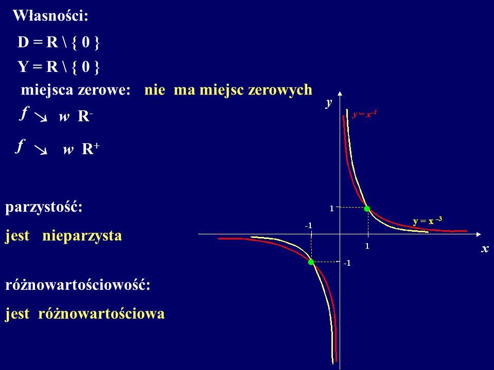 Własności: D =R \ { 0 } Y =R \ { 0 } miejsca zerowe: f  w R - parzystość: jest nieparzysta różnowartościowość: jest różnowartościowa nie ma miejsc ze