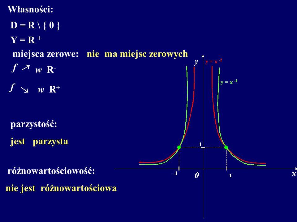 Własności: D =R \ { 0 } Y =R + miejsca zerowe: f  w R - parzystość: jest parzysta różnowartościowość: nie jest różnowartościowa nie ma miejsc zerowyc
