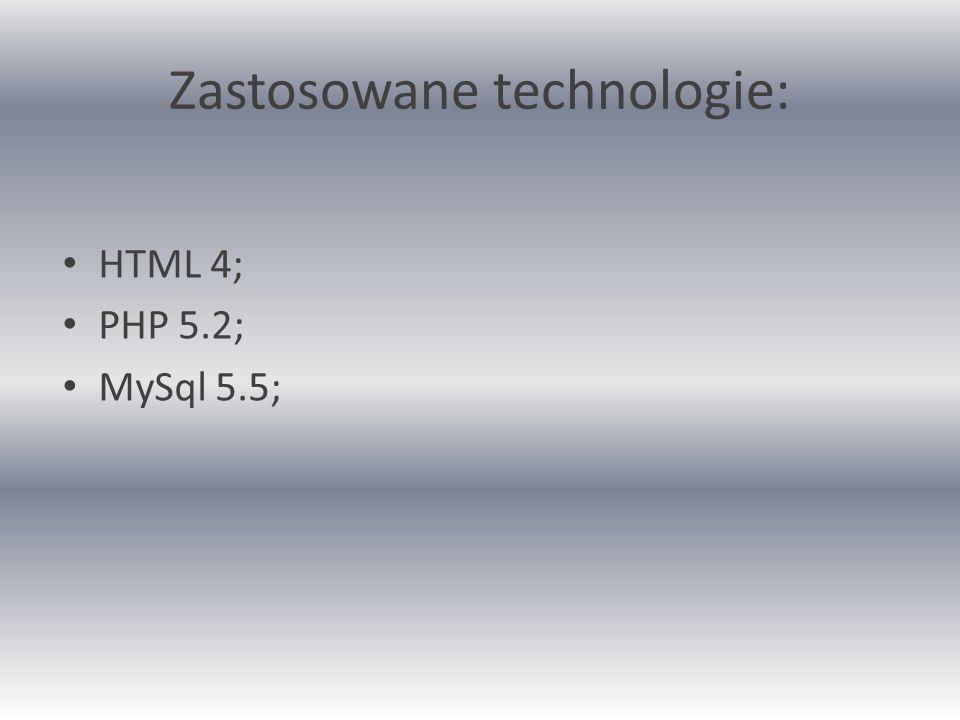 Zastosowane technologie: HTML 4; PHP 5.2; MySql 5.5;