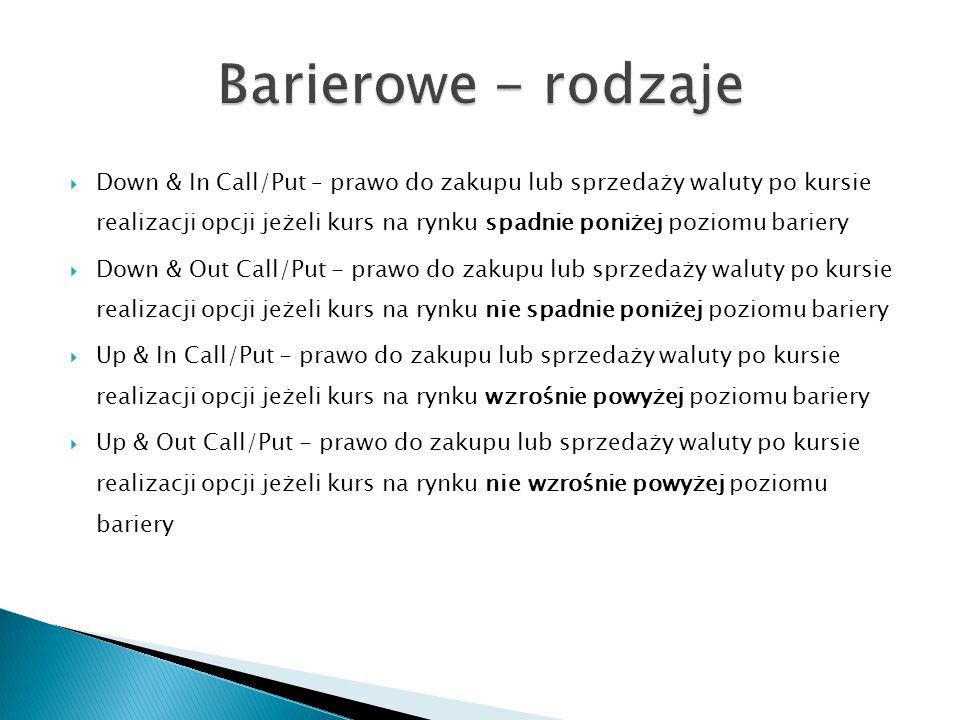  Down & In Call/Put – prawo do zakupu lub sprzedaży waluty po kursie realizacji opcji jeżeli kurs na rynku spadnie poniżej poziomu bariery  Down & O