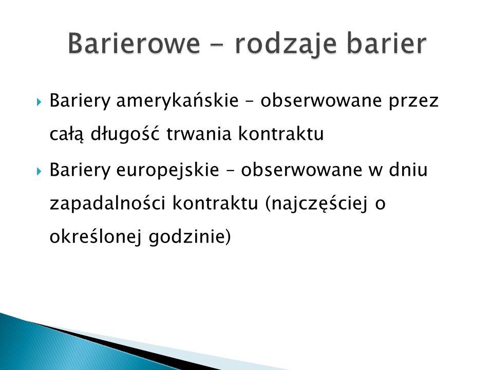  Bariery amerykańskie – obserwowane przez całą długość trwania kontraktu  Bariery europejskie – obserwowane w dniu zapadalności kontraktu (najczęści