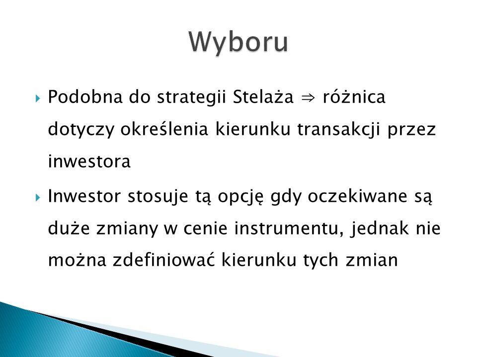  Podobna do strategii Stelaża ⇒ różnica dotyczy określenia kierunku transakcji przez inwestora  Inwestor stosuje tą opcję gdy oczekiwane są duże zmi