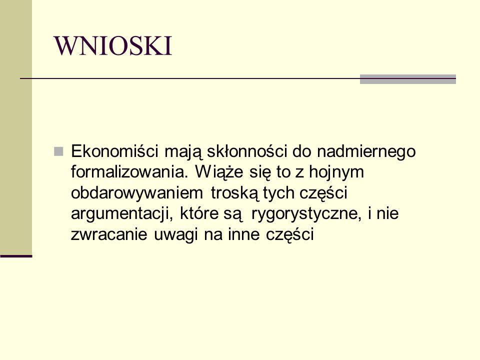 WNIOSKI Ekonomiści mają skłonności do nadmiernego formalizowania. Wiąże się to z hojnym obdarowywaniem troską tych części argumentacji, które są rygor