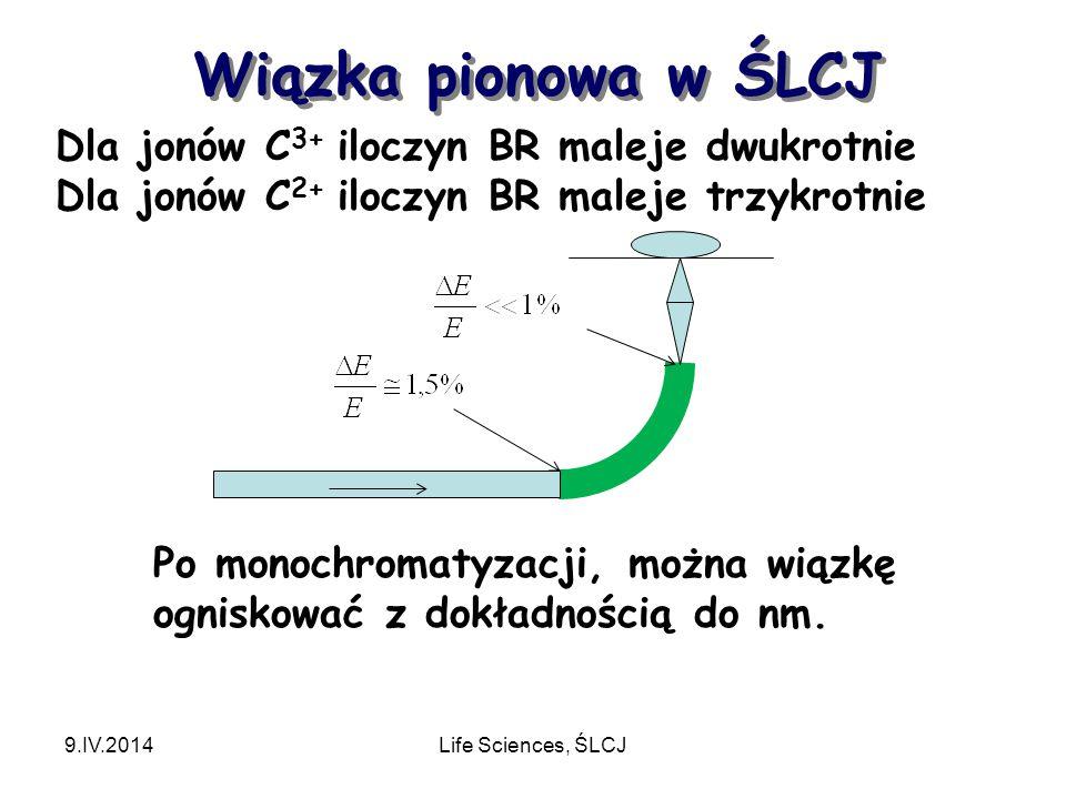 Wiązka pionowa w ŚLCJ 9.IV.2014Life Sciences, ŚLCJ Dla jonów C 3+ iloczyn BR maleje dwukrotnie Dla jonów C 2+ iloczyn BR maleje trzykrotnie Po monochromatyzacji, można wiązkę ogniskować z dokładnością do nm.