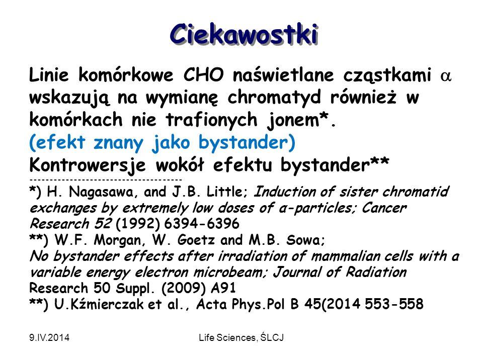 Ciekawostki 9.IV.2014Life Sciences, ŚLCJ Linie komórkowe CHO naświetlane cząstkami  wskazują na wymianę chromatyd również w komórkach nie trafionych jonem*.