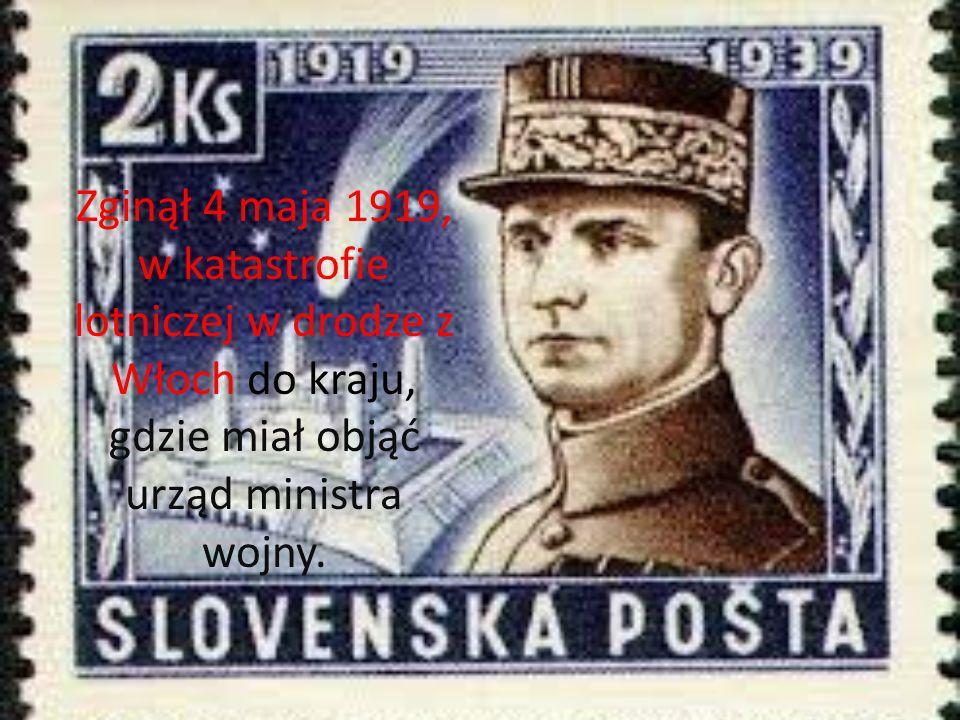Zginął 4 maja 1919, w katastrofie lotniczej w drodze z Włoch do kraju, gdzie miał objąć urząd ministra wojny.