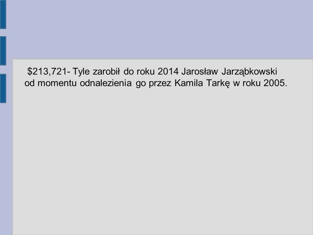 $213,721- Tyle zarobił do roku 2014 Jarosław Jarząbkowski od momentu odnalezienia go przez Kamila Tarkę w roku 2005.
