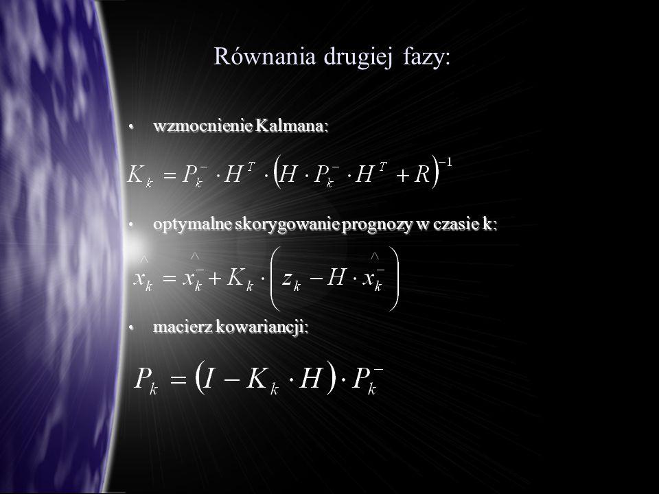Równania drugiej fazy: Równania drugiej fazy: wzmocnienie Kalmana: wzmocnienie Kalmana: optymalne skorygowanie prognozy w czasie k: optymalne skorygowanie prognozy w czasie k: macierz kowariancji: macierz kowariancji:
