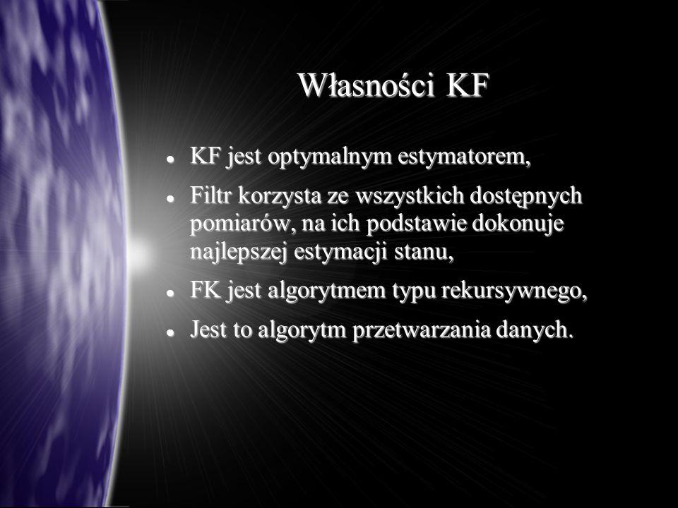 Własności KF KF jest optymalnym estymatorem, KF jest optymalnym estymatorem, Filtr korzysta ze wszystkich dostępnych pomiarów, na ich podstawie dokonuje najlepszej estymacji stanu, Filtr korzysta ze wszystkich dostępnych pomiarów, na ich podstawie dokonuje najlepszej estymacji stanu, FK jest algorytmem typu rekursywnego, FK jest algorytmem typu rekursywnego, Jest to algorytm przetwarzania danych.