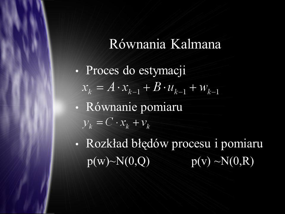 Równania Kalmana Proces do estymacji Równanie pomiaru Rozkład błędów procesu i pomiaru p(w)~N(0,Q) p(v) ~N(0,R)