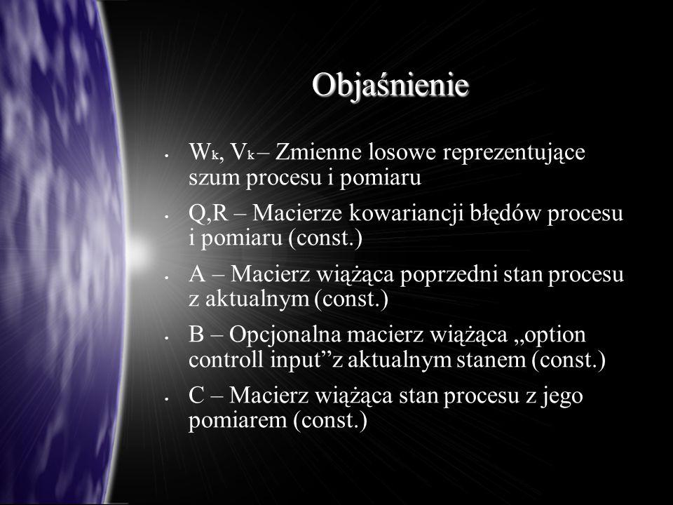 """Objaśnienie W k, V k – Zmienne losowe reprezentujące szum procesu i pomiaru Q,R – Macierze kowariancji błędów procesu i pomiaru (const.) A – Macierz wiążąca poprzedni stan procesu z aktualnym (const.) B – Opcjonalna macierz wiążąca """"option controll input z aktualnym stanem (const.) C – Macierz wiążąca stan procesu z jego pomiarem (const.)"""