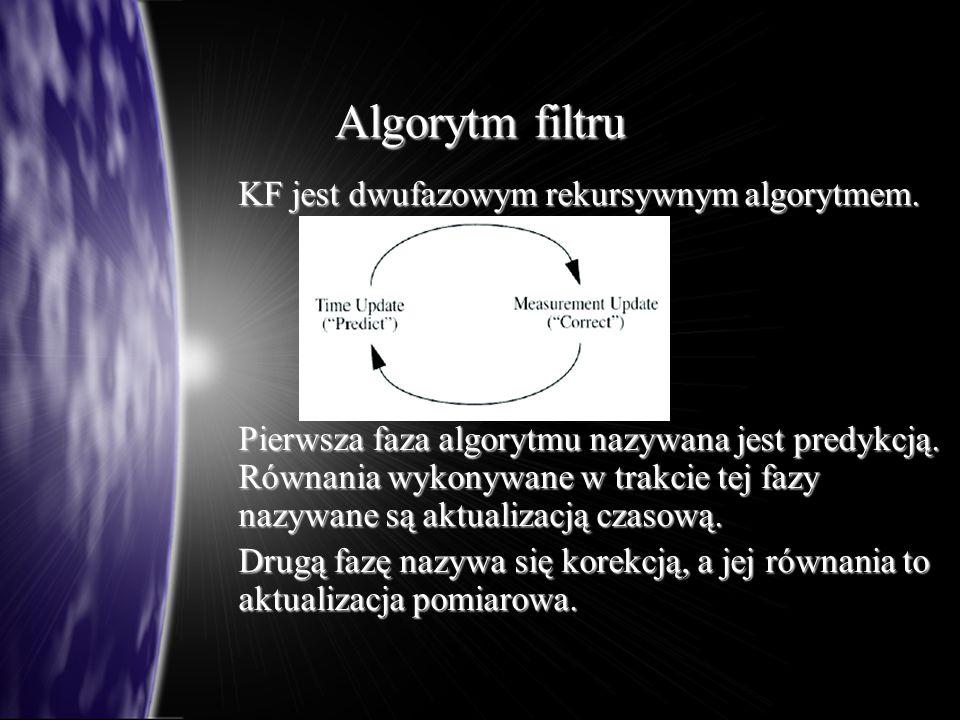Algorytm filtru KF jest dwufazowym rekursywnym algorytmem.