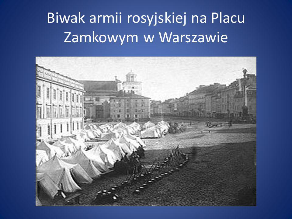 Biwak armii rosyjskiej na Placu Zamkowym w Warszawie