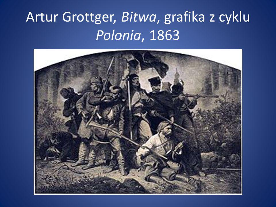 Artur Grottger, Bitwa, grafika z cyklu Polonia, 1863