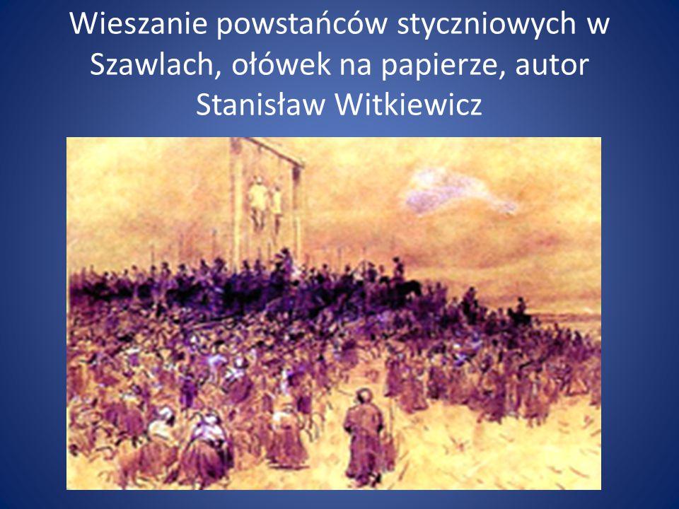 Wieszanie powstańców styczniowych w Szawlach, ołówek na papierze, autor Stanisław Witkiewicz