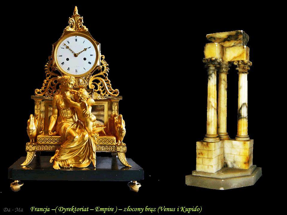 Da - Ma Francja. Dyrektoriat – złocony brąz - Diana Zegar kominkowy – Empire Francja – brąz pozłacany