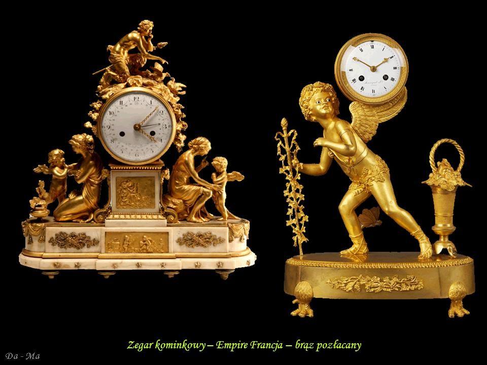 Da - Ma Francja Empire – zegar kominkowy, brąz złocony, marmur