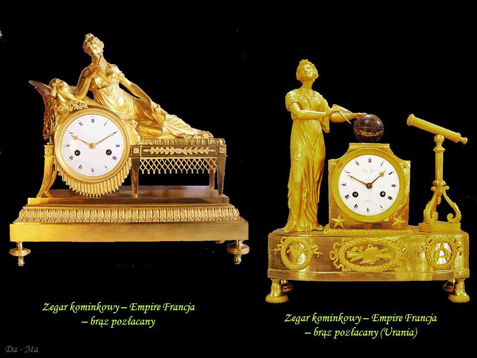 Da - Ma Zegar kominkowy – Empire - Karol X Francja – brąz pozłacany Zegar kominkowy Francja, empire – złocony brąz
