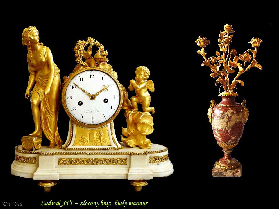 Da - Ma Francja, Ludwik XVI – zegar kominkowy – brąz złocony, emalia