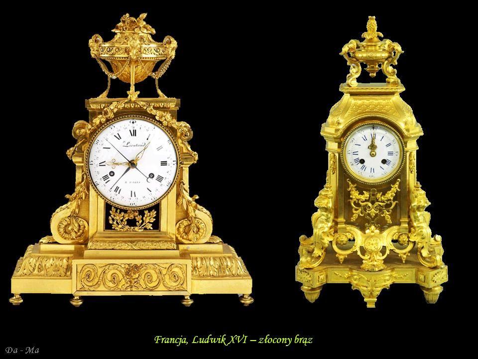 Da - Ma Francja, Ludwik XVI – zegar kominkowy – marmur, brąz złocony W stylu greckim W stylu egipskim