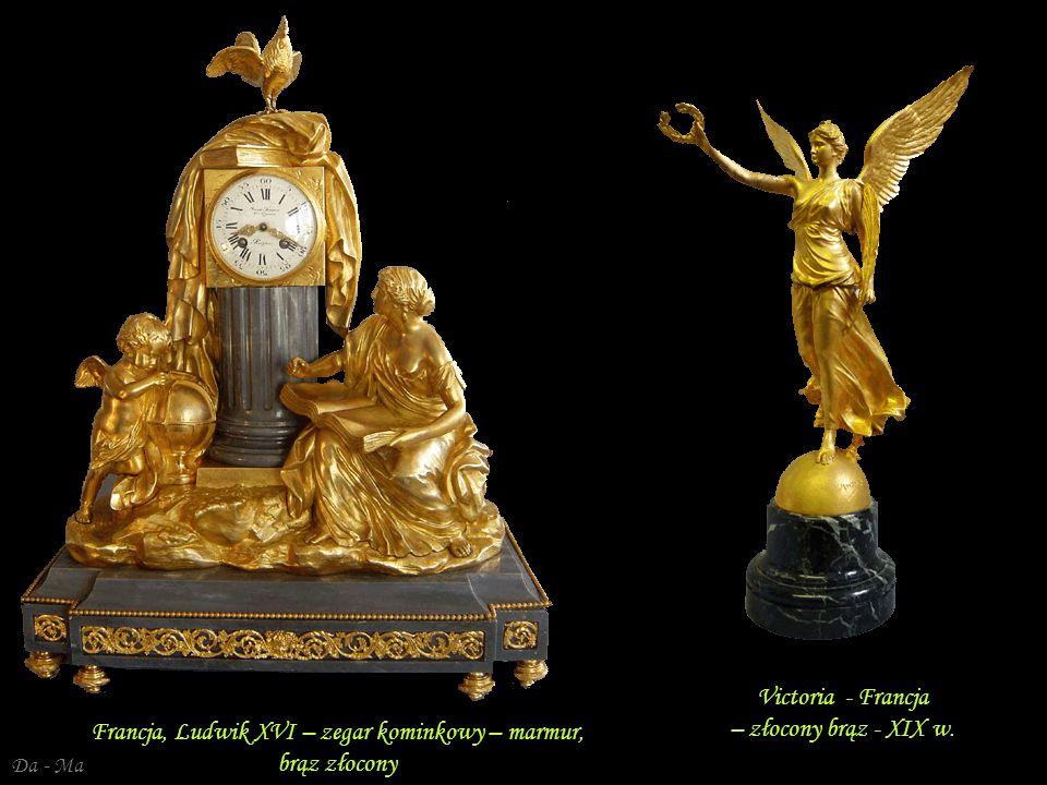Da - Ma Francja, Ludwik XVI – zegar kominkowy – alabaster brąz złocony Francja, Ludwik XVI – złocony brąz Francja, Ludwik XVI – zegar kominkowy – marm