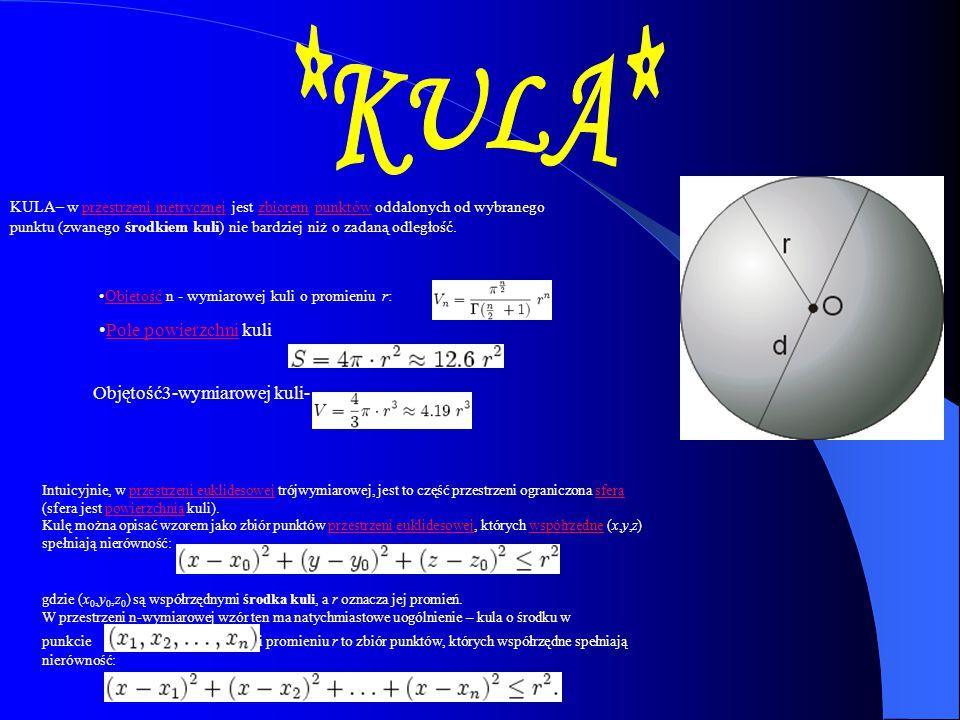 KULA– w przestrzeni metrycznej jest zbiorem punktów oddalonych od wybranego punktu (zwanego środkiem kuli) nie bardziej niż o zadaną odległość.przestr