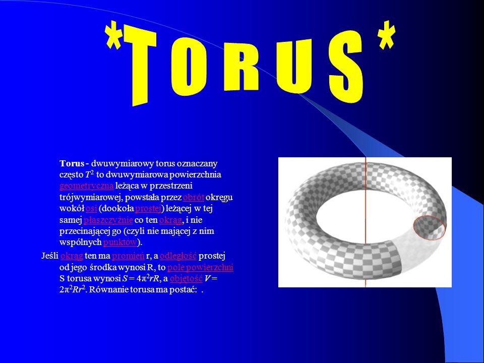 Torus - dwuwymiarowy torus oznaczany często T 2 to dwuwymiarowa powierzchnia geometryczna leżąca w przestrzeni trójwymiarowej, powstała przez obrót ok