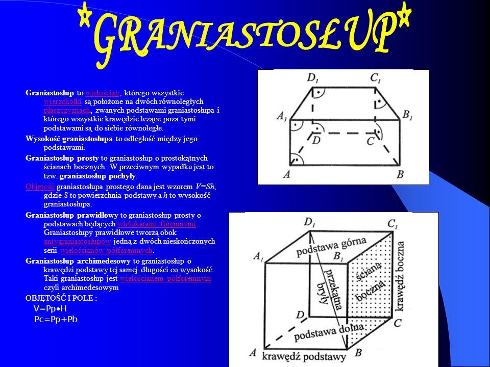 Graniastosłup to wielościan, którego wszystkie wierzchołki są położone na dwóch równoległych płaszczyznach, zwanych podstawami graniastosłupa i któreg