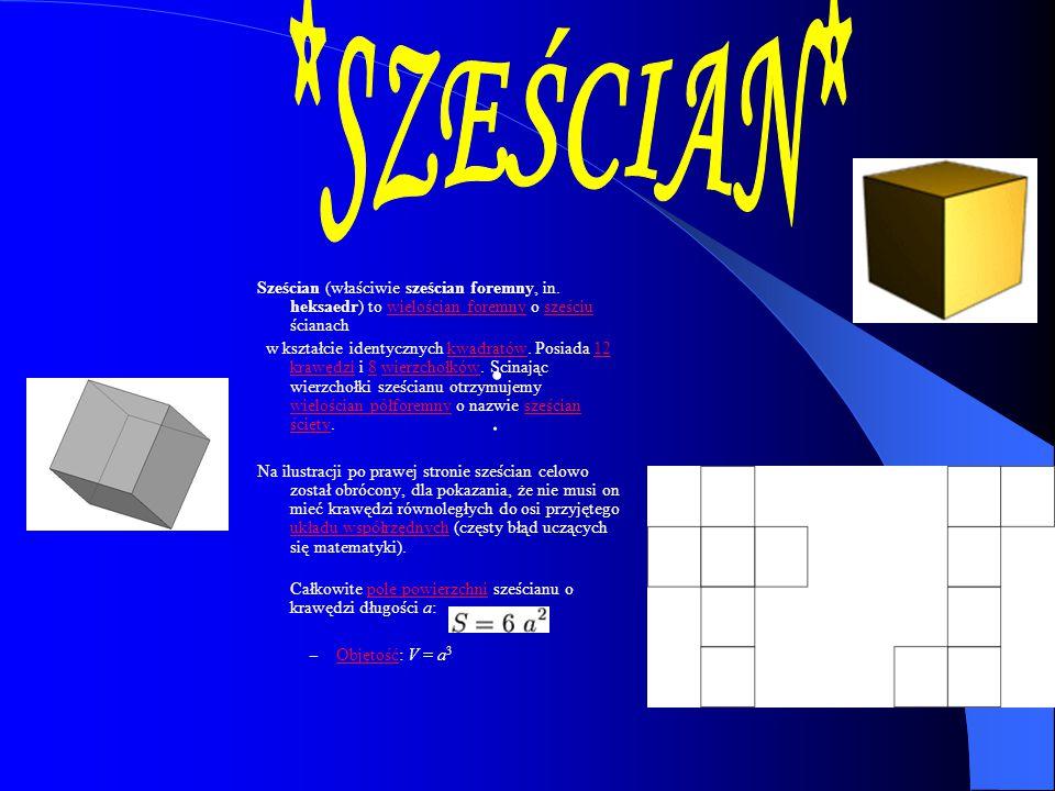 Sześcian (właściwie sześcian foremny, in. heksaedr) to wielościan foremny o sześciu ścianachwielościan foremnysześciu w kształcie identycznych kwadrat