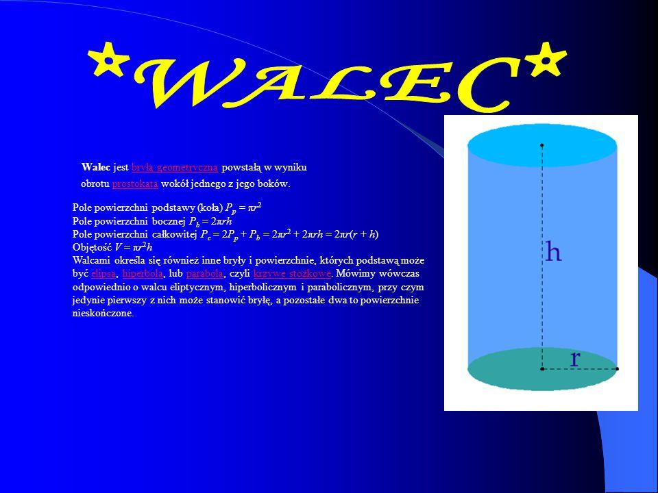 Walec jest bryłą geometryczną powstałą w wyniku obrotu prostokąta wokół jednego z jego boków.bryłą geometrycznąprostokąta Pole powierzchni podstawy (k