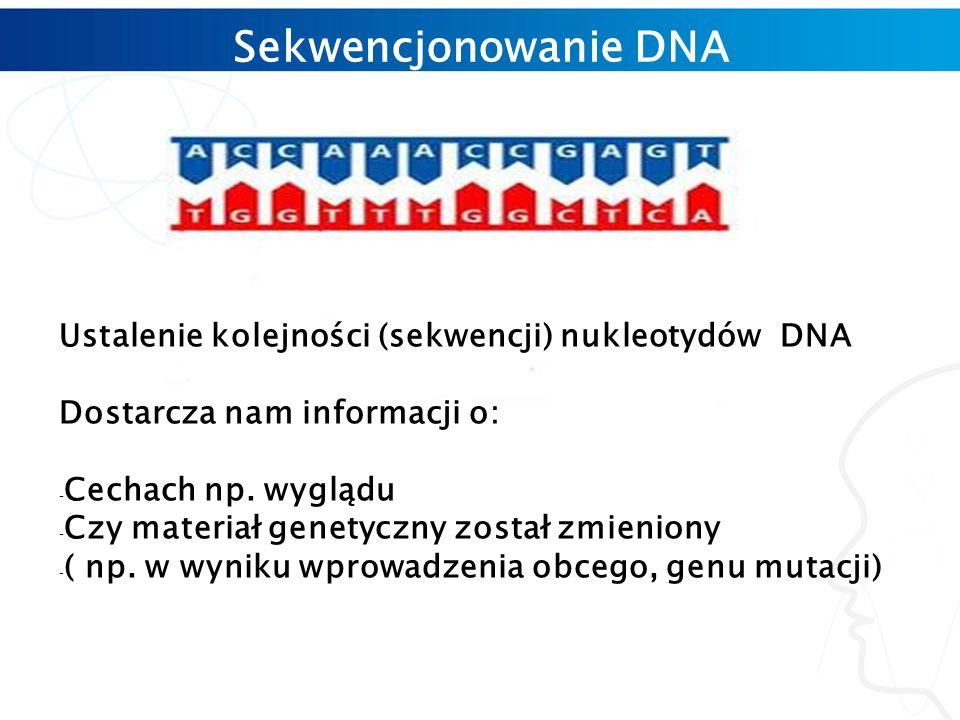 Sekwencjonowanie DNA Ustalenie kolejności (sekwencji) nukleotydów DNA Dostarcza nam informacji o: - Cechach np.