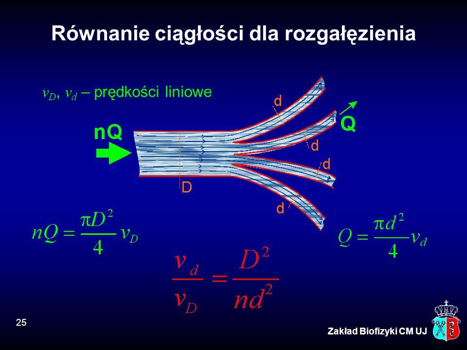 25 Zakład Biofizyki CM UJ Równanie ciągłości dla rozgałęzienia v D, v d – prędkości liniowe