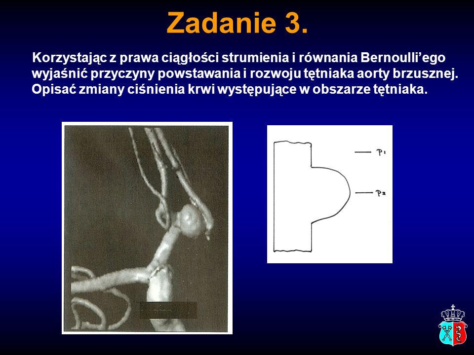 Zadanie 3. Korzystając z prawa ciągłości strumienia i równania Bernoulli'ego wyjaśnić przyczyny powstawania i rozwoju tętniaka aorty brzusznej. Opisać