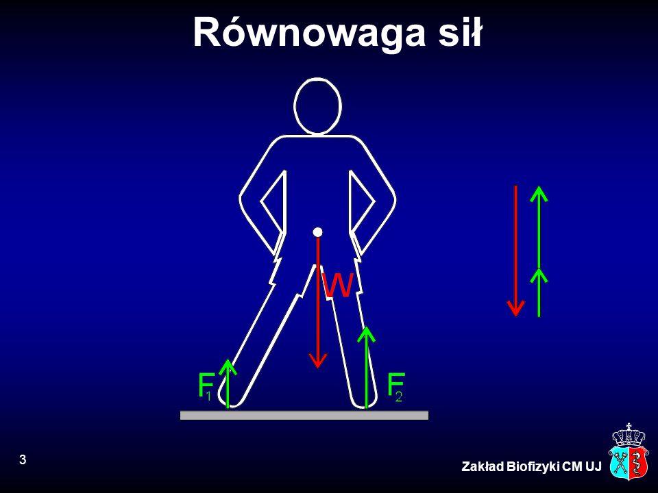 4 Zakład Biofizyki CM UJ Równowaga sił i momentów sił Równowaga sił: F 1 + F 2 = F 3 Równowaga momentów sił: r 1 F 1 = r 2 F 2