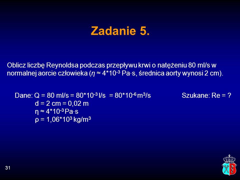 Oblicz liczbę Reynoldsa podczas przepływu krwi o natężeniu 80 ml/s w normalnej aorcie człowieka (η ≈ 4*10 -3 Pa·s, średnica aorty wynosi 2 cm). Dane: