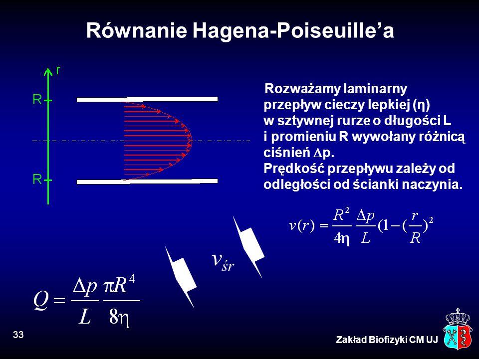 33 Zakład Biofizyki CM UJ Równanie Hagena-Poiseuille'a Rozważamy laminarny przepływ cieczy lepkiej (η) w sztywnej rurze o długości L i promieniu R wyw